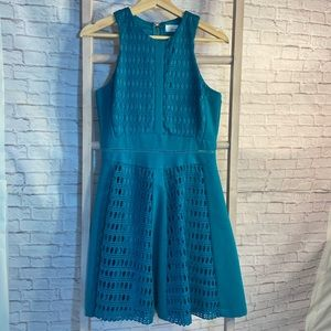 Adelyn Rae Lace Fit and Flare Dress in Peacock